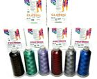 SET of 6 Madeira Embroidery Thread 40 Polyneon Classic 5000m Cones ASSORTED