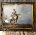 Horse And Native American Warrior Spirit Print In Rustic Wood Frame 23x19 Arts