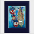 Helen Simeonoff Watercolor Paint Native Alaskan Matted Art Print Sugpiaq Man