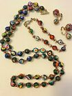 Vintage Millefiori Murano Glass Bead Necklace Bracelet  Earrings Italy