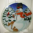 Peggy Kerr 20 Fused Glass Christmas Platter Plate Frosty Deer Bunny Rabbit Bird