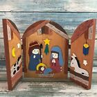 Handmade Carved Wooden Fold Out Manger Scene Hand Painted Birth Of Jesus Signed