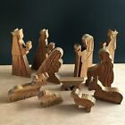Wooden Nativity Scene Mary Joseph and Baby Jesus Carved Set 11 Pcs For Child