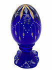 Fenton Art Glass Hand Painted Numbered Cobalt Blue Footed Egg Signed Tapia
