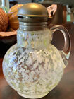 Victorian Glass Syrup pitcher Diamond optic Yellow and Opal spatter