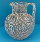 Antique Art Glass White Pitcher with String Peloton and Applied Handle