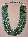 Castlecliff Green  Blue Glass 3 Strand Necklace Faceted  Art Glass Beads