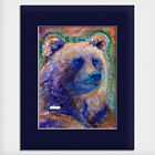 Helen Simeonoff Native Alaskan Matted Watercolor Art Print Bear Mask Grizzly