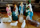 Vintage Empire Christmas Blow Mold 11 piece Nativity Set Wise Man Donkey Lamb