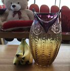 Hand Blown Art Glass Large Owl Vase Graduated Purple Clear Amber Hues 13