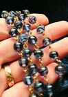 Art Deco Style Periwinkle Blue Black Swirl Glass Flapper Style Gold Bow Necklace