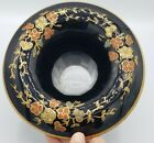 Art deco Hand Painted Floral Glass Waterfall Edge Vase