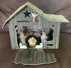 Vintage Crche Cardboard Nativity Angel Mary Joseph Baby Jesus Manger Sheep