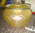 Iridescent Diamond Pattern Gold Glass Vase 5 bohemian Signed