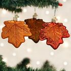 Old World Christmas 3 Pc Assorted Maple Leaf Glass Ornament Set  Gift Box