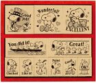 Peanuts Snoopy English character wood mounted rubber stamps set w package
