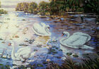 Needlepoint tapestry painted canvas Swans 19x24 Gobelin 14820