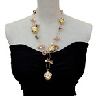 Purple Murano Glass White Keshi Pearl Pink Pearl Chain Pearl Y Drop Necklace