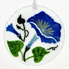 Peggy Karr MORNING GLORY 325 Round Ornament Fused Glass Blue Flower Mint