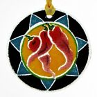Peggy Karr CHILIES 325 Round Ornament Fused Glass Red Pepper Southwest Mint