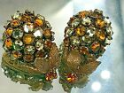 1940 MIRIAM HASKELL SIGNED COLORFUL ROSE MONTEES CRYSTAL FLOWER CLUSTER EARRINGS
