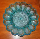 VINTAGE INDIANA GLASS BLUE Hobnail Deviled EGGS Plate Serving Dish