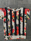 Jean Paul Gaultier silky stretch gorgeous print front mesh insert blouse S to M