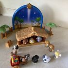 Little People Nativity Set Fisher Price 2002 Stable Backdrop and figures