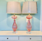 2 BAROVIER  TOSO Murano lamps Pink Cranberry Glass w Silver w Label