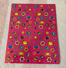 Vintage Lisa Frank Smiley Faces Groovy Flowers Hippie Sticker Sheet S757