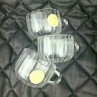Espresso Borosilicate Cups Clear Glass Tea Coffee Ribbed Light Weight Hand Made