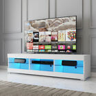 57 LED TV Stand Cabinet Console Glass Shelves with Remote Entertainment Center