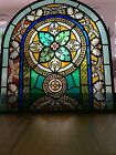 Antique Stained Leaded Glass Church Arched Window 25 1 2 x 23 3 8