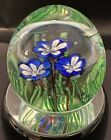 Beautiful Murano Art Glass Paperweight Cobalt Blue White Flowers w Seagrass
