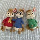 NWT TY SET OF 3 CHIPMUNKS ALVIN, SIMON AND THEODORE BEANIE BABIES NEW Rare