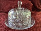Heavy Large Brilliant Cut Crystal Glass VIntage Domed plate