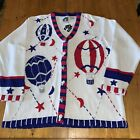 New Storybook Knits Womens 1X Sweater Cardigan Hot Air Balloons Red White Blue