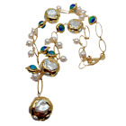 24 Freshwater Cultured White Keshi Pearl Blue Murano Glass pendant Necklace