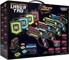 Rechargeable Laser Tag Set + Innovative LCDs and Sync  4 Infrared Guns  Vests