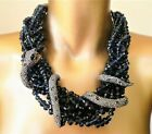Signed ALEXIS BITTAR Navy Crystal Torsade w Wrapped Crystal SNAKE Necklace