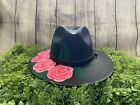 Mexican Artisanal Hand Painted Rose Fedora Hat