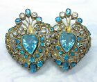 Hobe Early Unsigned Large Blue Double Heart Brooch