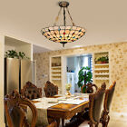 Tiffany Hanging Pendant Lamp Peacock Stained Glass Chandelier Ceiling Light