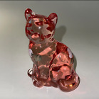FENTON Clear Glass CAT PINK HAND PAINTED and Signed Excellent Condition USA