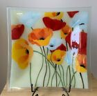 PEGGY KARR WILD POPPIES 125 Square Fused Glass Platter EUC