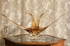 Mid century Chalet Art Glass Amber  Crystal Centerpiece Signed