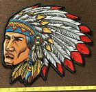 LARGE Native American Biker Hot Rod Motorcycle Embroidered Iron On Back Patch