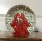 JOE RICE ST CLAIR GLASS PAPERWEIGHT Red Trumpet Flowers Controlled Bubbles