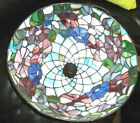 TIFFANY Style STAINED GLASS Table Lamp Shade Floral Flowers Pink Green Blue