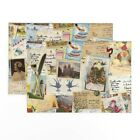 Cloth Placemats Vintage Memories Photos Greetings Cards Postcards Set of 2